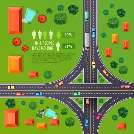 Crossroad with marking top view design with vehicles, buildings, trees, infographic elements on green background vector illustration Illustration