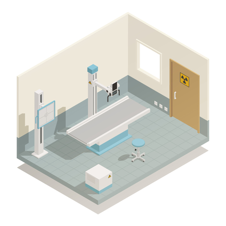 Hospital radiology unit medical equipment for diagnostics therapy and disease treatment isometric view vector illustration