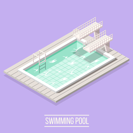 Isometric swimming pool composition with isolated image of piscine high diving boards and water vector illustration