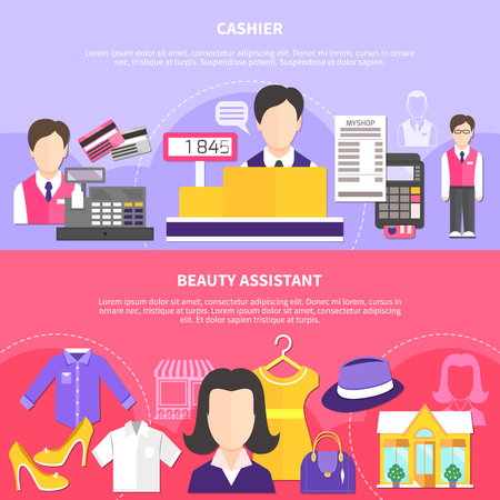 Salesman horizontal banners set with text and images of women wear items with cashier and assistant characters vector illustration Illustration