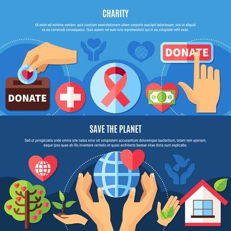 Conjunto de dos banners de caridad horizontal con texto e imágenes planas de manos humanas y símbolos de ilustración vectorial Foto de archivo - 91811181