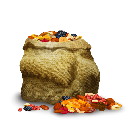 Dried fruits and nuts pieces in sack healthy nutrition vector illustration Illustration