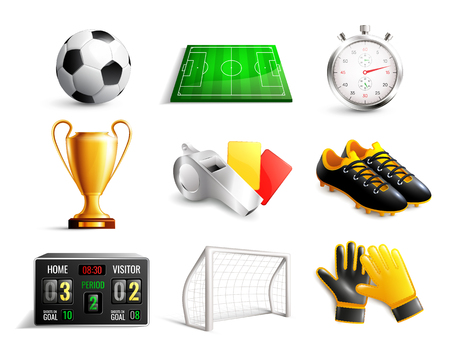 Soccer set of 3d icons with field, ball, trophy, scoreboard, whistle, gloves and boots isolated vector illustration Vectores