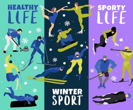 Insegne verticali degli sport invernali con l'illustrazione piana di vettore delle figurine del pattinatore del hockey dello snowboarder del biathlonist dello sciatore Archivio Fotografico - 91812314