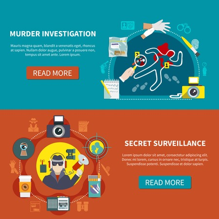 Two detective banner set with murder investigation secret surveillance and read more buttons vector illustration