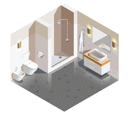 Bathroom interior isometric composition with beige white walls and grey tiled floor, shower, sanitary ware vector illustration