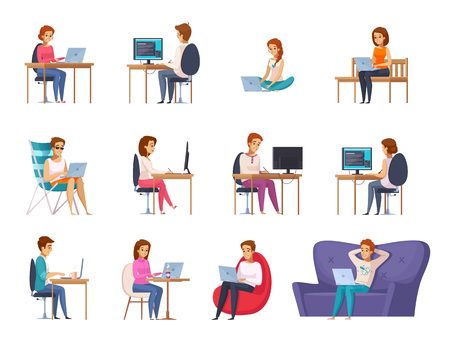 Designer artist set with laptop sofa and table flat isolated vector illustration