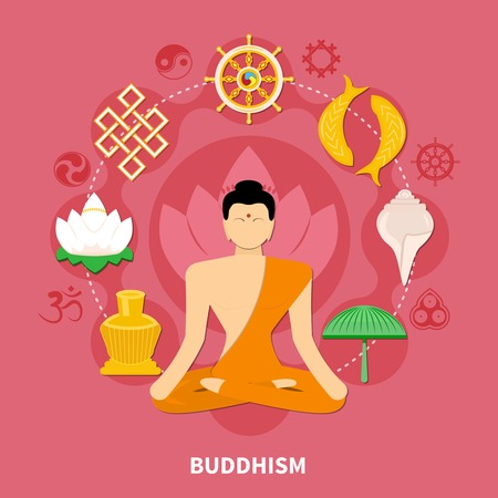 Religions flat and colored composition with Buddhism main features of the religion vector illustration Illustration