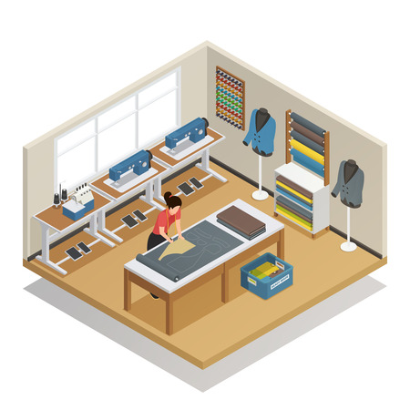 Tailor cutting out fabric for sewing clothes in fashion atelier interior tools and supplies isometric vector illustration