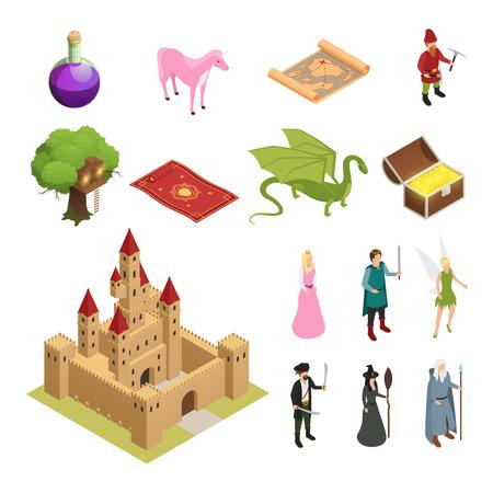 城ドラゴン騎士姫宝箱魔法のじゅうたん孤立ベクトルイラストで設定されたおとぎ話のアイソメトリックアイコン