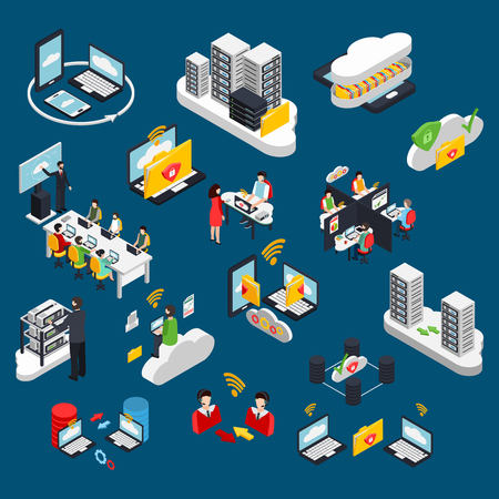 Cloud office isometric icons set with data protection symbols isolated vector illustration
