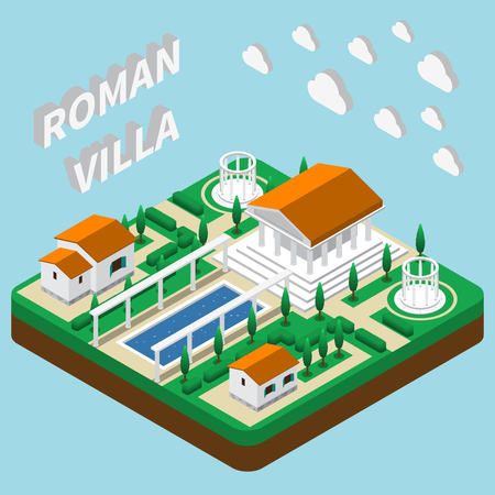 Isometric house composition with images of pantheon style buildings with park grounds illustration Illustration