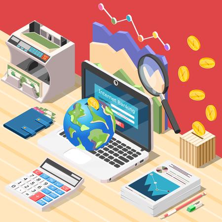Isometrische boekhoudkundige achtergrondsamenstelling met werkplek van laptop van de accountant digitale calculator en conceptuele financiële infographic pictogrammen vectorillustratie