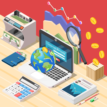 Isometric accounting background composition with workplace of accountant digital calculator laptop and conceptual financial infographic icons vector illustration