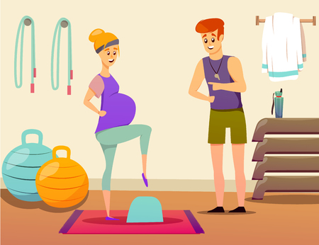 Composition with pregnant woman during exercise on step platform with personal sport instructor in gym vector illustration