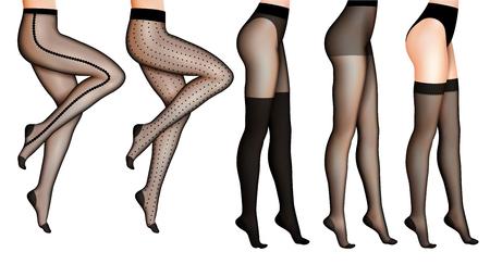 女性のスリムな脚と黒いストッキング孤立ベクトルリアルイラスト  イラスト・ベクター素材