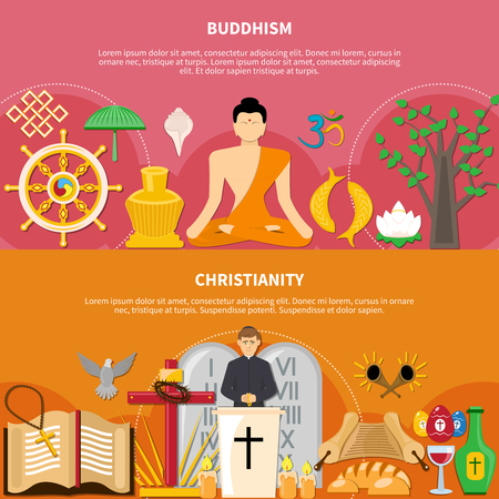 Two horizontal religions flat flyer or banner set about buddhism and Christianity vector illustration Vector Illustration