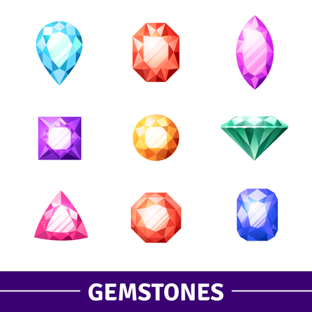 Gemstones in different colors and shape realistic icons set isolated vector illustration