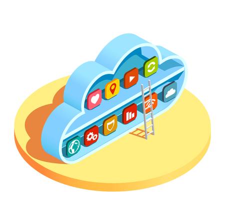 Cloud computing services resources access infrastructure isometric composition with ladder leading to application symbols vector illustration