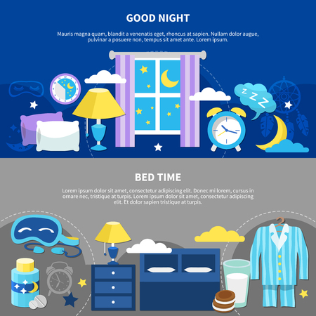 Good night 2 flat horizontal bedtime banners with bed pajama nightstand lamp and alarm clock vector illustration Illustration