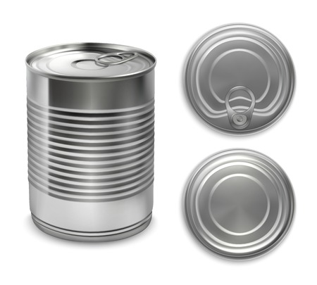 3d metal packaging can mockup set with three isolated views of preserve tin can with shadows vector illustration