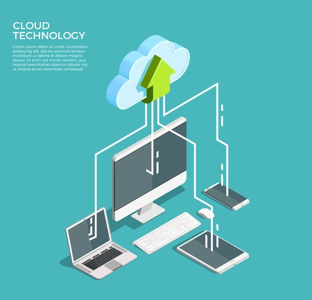 Cloud computing technology users network configuration isometric advertisement poster with pc monitor tablet phone laptop vector illustration Ilustração