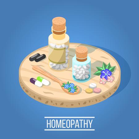 ホメオパシーハーブ錠剤ボトルとの代替医療アイソメ組成物。  イラスト・ベクター素材