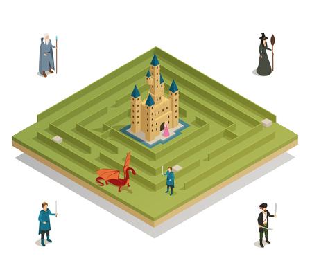 Jeu de labyrinthe de conte de fées avec château médiéval sorcière soldat chevalier et dragon chiffres illustration vectorielle composition isométrique