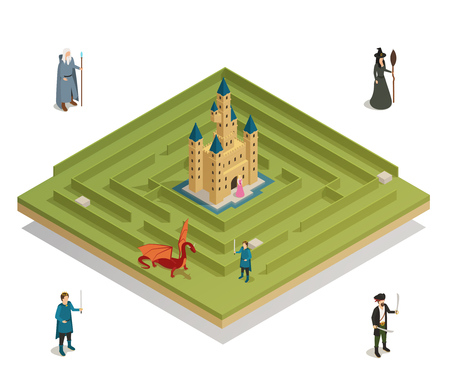 Fairy tale labyrinth game with medieval castle  witch soldier knight and dragon figures isometric composition vector illustration