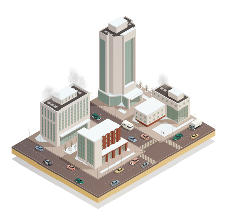 Freezy winter day in city center isometric view with modern tower buildings and vehicles on streets vector illustration Çizim