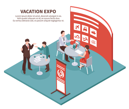 Isometric expo stand exhibition conceptual composition with editable description and images of exhibit booth for tour operator vector illustration