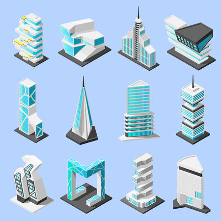 Isometric futuristic architecture set with isolated images of hi tech style modern buildings and skyscrapers vector illustration