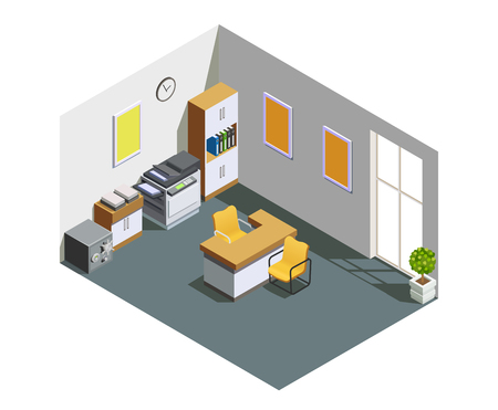 Bank customer assistant clerk office interior isometric view.