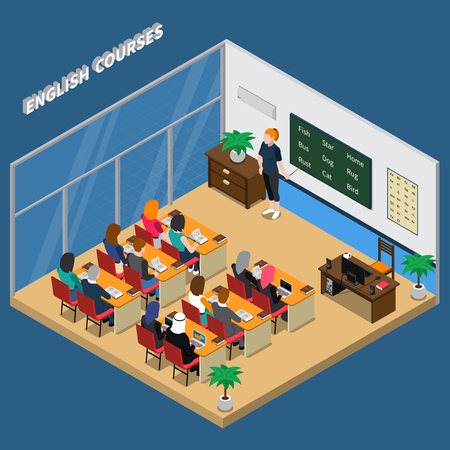 Cours d'anglais en salle de classe avec l'enseignant près de composition isométrique de tableau et les élèves sur l'illustration vectorielle fond bleu