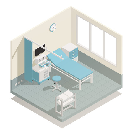 Hospital intensive care unit life support and monitoring medical equipment with patient bed isometric composition vector illustration  Vettoriali