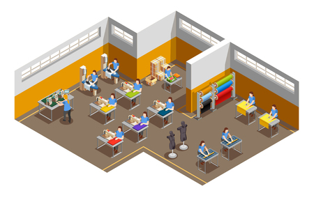 Fashion clothes apparel factory interior isometric view vector illustration Stock Illustratie