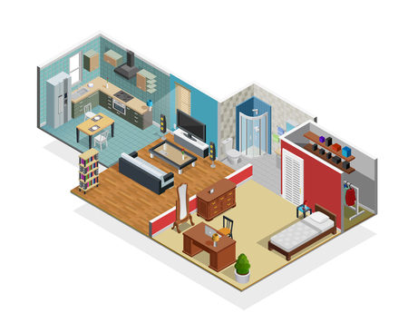 House interior isometric concept with bedroom bathroom and wardrobe vector illustration