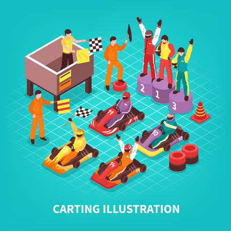 Isometric carting composition with images of racing drivers on pedestal and carts with text vector illustration