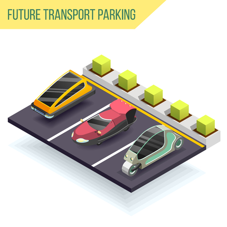 Future transport parking isometric design concept with three electric cars of fantastic shape near charger station vector illustration