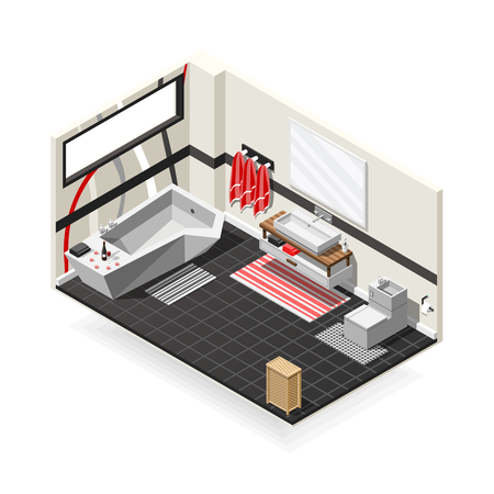 Bathroom futuristic interior hi-tech design with sanitary equipment, decorated wall, tiled floor isometric composition vector illustration