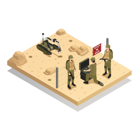 Fighting robots design concept with military experts involved in demining of dangerous area via sapper machine isometric vector illustration