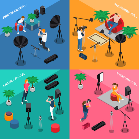 Photo model agency isometric concept with people posing for camera, photographers on color background isolated vector illustration