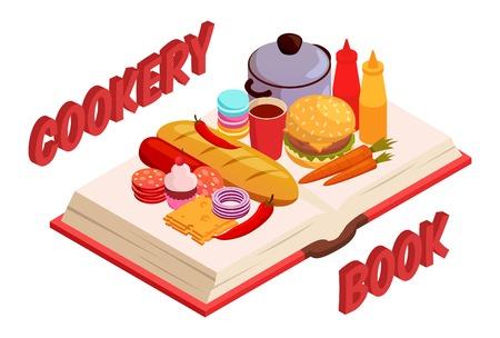 Culinaire boek isometrische samenstelling met brood en snoep, hamburger en worst, kaas, groenten en pan vectorillustratie