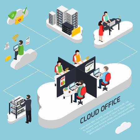 Fundo isométrico de escritório de nuvem com proteção de dados e ilustração vetorial de símbolos de segurança