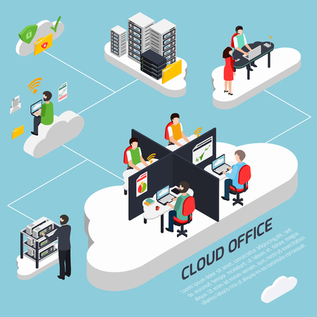 Cloud office isometric background with data protection and security symbols vector illustration