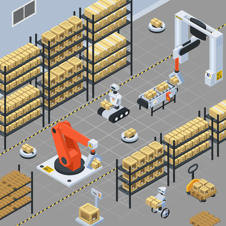 Automatic logistics solutions in warehouse facility isometric background with robotic arm gripping and placing packages vector illustration
