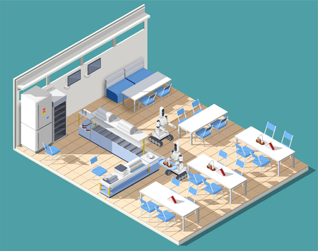 Fast food service restaurant isometric interior with tables chairs and robotic waiters chasing food on platters vector illustration Vektoros illusztráció