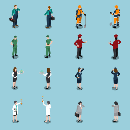 Professions uniform isometric people set of isolated faceless human characters dressed in appropriate utility clothing vector illustration