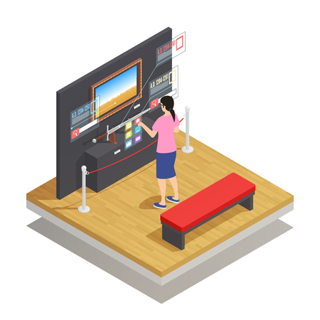 Isometric composition with woman in augmented reality glasses looking at museum pieces on white background 3d vector illustration