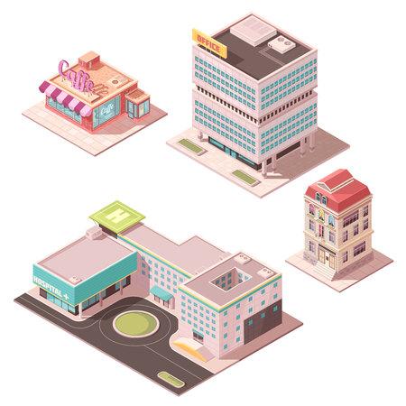 カフェ、オフィスセンター、住宅、ヘリコプターパッド付き病院を含むアイソメの建物のセット孤立ベクトルイラスト